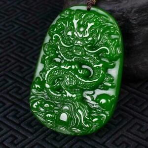 Green Natural jade Jasper jade Pendant Necklace dragon Jade statue  Amulet