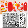 NICOLE DIARY Christmas Maple Leaf Nail Stamping Plates Metal Templates Design