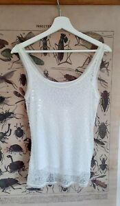 Coast UK 10 White Sequinned Mesh Vest Separate Spaghetti Strap Camisole Top XMAS
