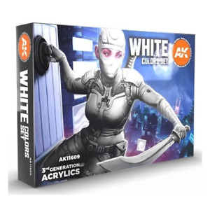 AK Interactive 11609 3rd Generation Acrylics White Colours Set Brand New