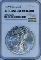 2000 Silver American Eagle $1 / NGC Brilliant Uncirculated / Fresh from NGC