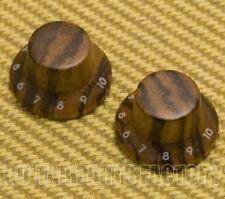 PK-KZ104  (2) Zebra Wood Strat Style Bell Knobs for Guitar/Bass 1-10 Press Fit