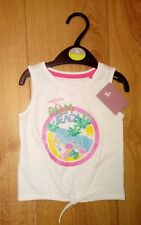 New Baby White TU Palm Beach Glittery Logo Sleeveless Tie Top Age 9/12 Months