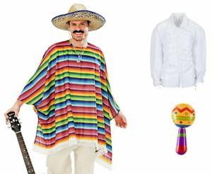 Set Poncho & Sombrero Mexikaner Kostüm Rumbakugel Karneval Fasching, (K)