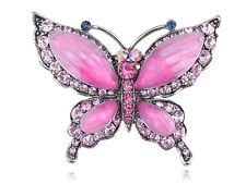 ChicRepro Czech Crystal Rhinestone Rose Pink Butterfly Fashion  Pin Brooch