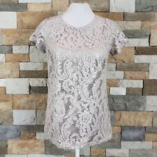 International Concept Womens Sz S Beige Lace Sequined Short Sleeve Top Blouse