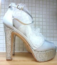 Faith Layla High Block Heel Ankle Strap Sandals Size 8/41 BNWT RRP £52.49 Silver