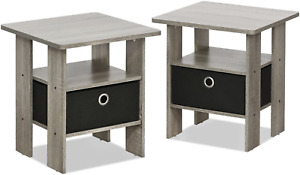 Set of 2 Nightstand Modern Side Table Pair Bedside Bedroom Furniture Drawer NEW