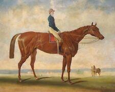 Large 19th Century English Jockey & Horse Portrait Antique Oil Painting HERRING