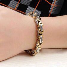 8mm Width Men Byzantine Chain Stainless Steel Wristband Bracelet L