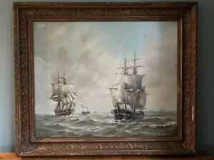 Original Signed Max Parsons Maritime Tall Sailing Ships Oil Painting Gilt Frame