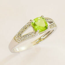 NATURAL PERIDOT RING REAL DIAMONDS 9K WHITE GOLD SIZE M1/2 AUGUST BIRTHSTONE NEW