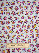 Noahs Ark Monkey Toss Purple Blue Cotton Fabric #6300 Two By Two HG&Co YARD