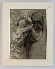 Woman Holding Her Child Vintage Original Impressionist Painting Large on Canvas