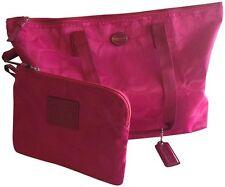 Coach Getaway Signature Nylon Packable Weekender Tote Bag F77321 Berry P
