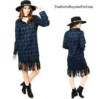 Navy Green BOHO Western Hippie Country Cowgirl Dance Fringed Plaid Shirt Dress
