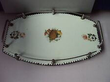 Antique Art Deco, metal porcelain enameled, chromed, serving tray