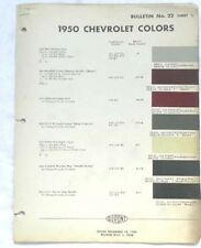 1950 CHEVROLET DUPONT COLOR PAINT CHIP CHART ALL MODELS