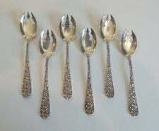 SET/6 STIEFF STERLING SILVER ICE CREAM FORK, REPOUSSE / STIEFF ROSE, NO MONOG.