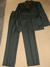 T.M.Lewin Telegraph 100% Wool Grey Check 2-Piece Suit        Size 40R 34R