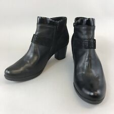 Remonte Size 39 UK6 Black Leather Ankle Zip Up Party Heeled Booties Lined Boots