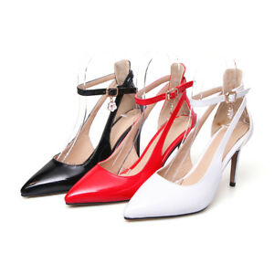 Womens Ankle Strap Pumps Patent Leather Pointed High Heel Stiletto Shoes US Size