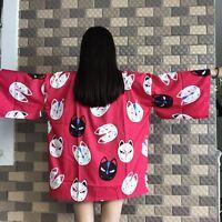Japonés Harajuku Moderno DULCE LOLITA Kimono Holgado Estampado albornoz chaqueta