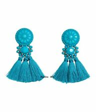 H&M Conscious Trend Exclusive Gorgeous Earrings decorated Turquoise Blue Tassels