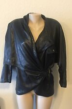 VINTAGE GIANNI VERSACE LEATHER JACKET BLACK WOMEN'S LINED BATWING ALIGATOR 8/M