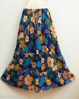 PEASANT BOHO LONG SKIRT CASUAL SUMMER BEACH COTTON NAVY BLUE FLORAL NEW S M L XL