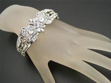 $120 Nina Arm Candy Wedding Pave Clear Crystal Hinged Cuff Bracelet Silvertone