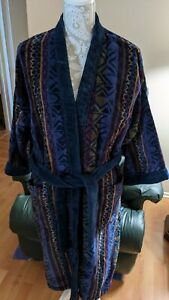 Vintage 90s Stafford Men's  Terry Cloth Heavy Cotton Bath Robe Multi Design.