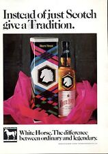 1969 White Horse PRINT AD Scotch Whisky Vintage Bottle Colorful Gift theme