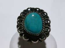 ESTATE VINTAGE WOMENS STERLING SILVER DEEP BLUE TURQUOISE RING BAND