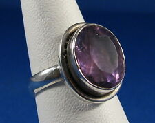Striking Genuine Faceted Amethyst Solitaire Silver Ring Size 7.0   AR135B