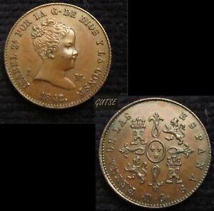 SPAIN, 307-ISABEL II, 1 MARAVEDI 1842, MADRID *DG*, DEP. DE GRABADO, RARE, UNC.