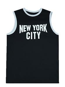 New York City Logo Tank Top John Lennon Style Cotton Muscle T-Shirt White  Black