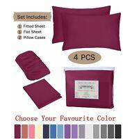 4 Piece Bed Sheet Pillowcase Set Deep Pocket Fitted Sheet 1800 Count Microfiber
