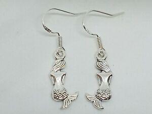 New Pretty Silver 925 Novelty Mermaid Drop/Dangle Earrings Cute Retro