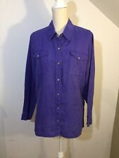 Purple Ladies Shirt Women's Blouse 100% Linen Size M by Chico's Work Weekend