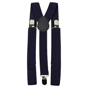 New Adult Men's Navy Blue Braces Adjustable Heavy Duty Clasps.