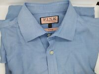 XL (17) Long - Men's Thomas Pink Prestige  Cotton Blue with white - French Cuff