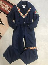 Vtg 70's 80's Native American Ski Snow Suit Beaded & Embroidered Womens 38 Smal'