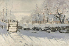 The Magpie Claude Monet Elster Vogel Winterlandschaft Schnee Zaun B A3 01233