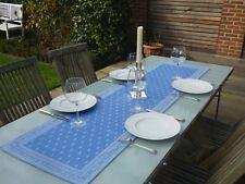 Tischläufer Jacquard 45x160 cm blau Blütenmotiv aus Frankreich mit Teflonschutz
