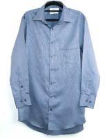 Van Heusen Men's Long Sleeve Shirt Blue Classic Fit Easy Care Size L
