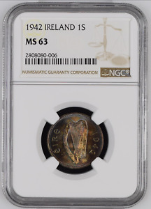 ✔ 1942 Ireland Silver Shilling NGC MS 63 Toned 1S