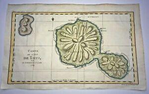 TAHITI- TAITI- 1774 TRAVEL OF COOK LARGE ANTIQUE ENGRAVED MAP XVIIIe CENTURY