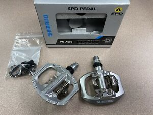 Shimano PD-A530 Pedals With Cleats  Silver SPD and Flat Platform