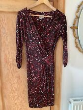 Women's Flattering 3/4 Length Sleeve Red Patterned Wrap Dress From Ghost Size 8
